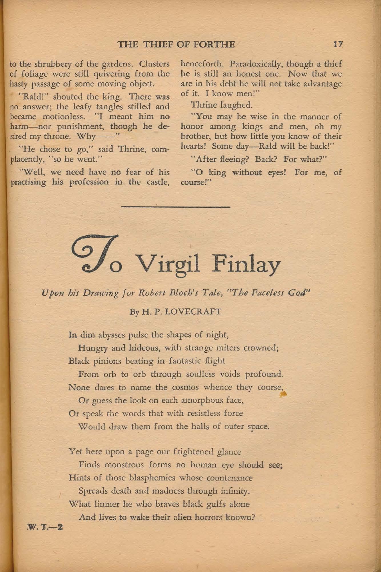 Weird Tales Vol  30, No  1 (July 1937), ed  by Farnsworth