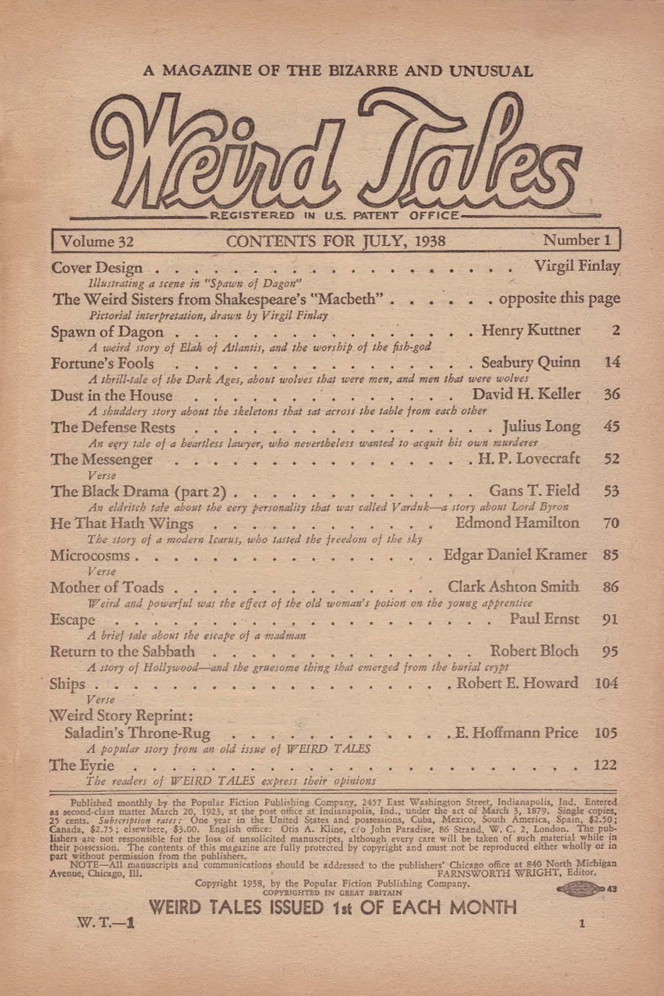Weird Tales Vol 32 No 1 July 1938 Ed By Farnsworth Wright